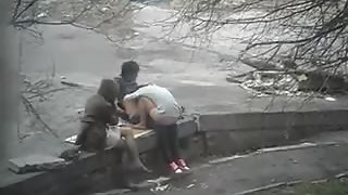 Horny girl watching passionate couple plumbing hard in public