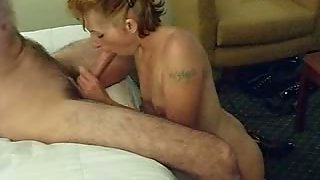 Tattoed first-timer slut sucking me off