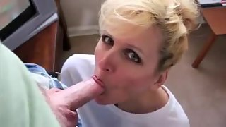Jaw-dropping light-haired wife steamy blowjob enjoys my man meat