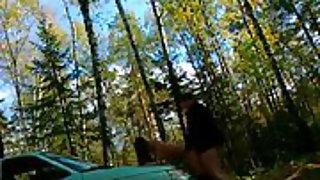 Sex in woods bent over car