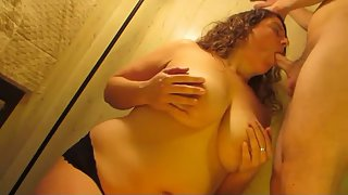 All natural giant boob amateur hand knocker and blow job with cum fountain