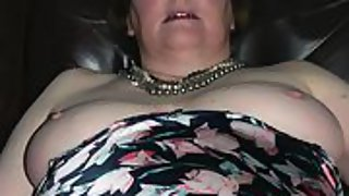 Elder gilf wife lounging back and being fed cum straight into her thirsty mouth