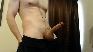 Young jock strokes his big dick to jizz flow