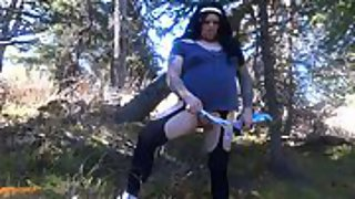 Compilation of a lush crossdresser exhibitionist in the woods