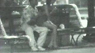 Couple in park after club having sex in public on a bench