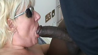Mature slut wife boinked by very first big black cock and facialized cuckold blacking