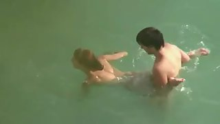 Naked amateur duo having wild doggystyle fuck-a-thon under the water