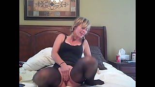 Horny mother masturbating with hook-up fucktoys one up arse other in pussy
