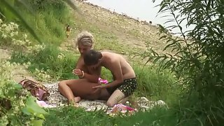 Tanned blonde beautiful wife sex by the river voyeur porno video