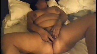 Wife masturbating with a electro-hitachi