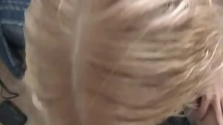 Gorgeous blond wife sucking and railing husband in pov, then getting cim