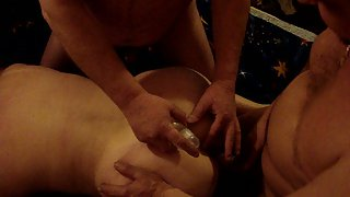 Mature amateur swingers both folks attempting to lube up and use her ass
