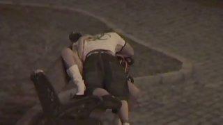 Hidden cam amateur porno young lovers filmed having sex on park bench