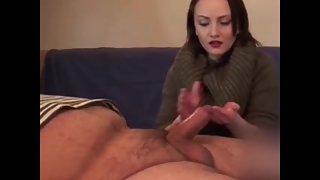 Whorish mistress showcasing her handjob skills