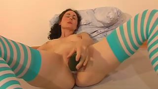 Hump fucktoy joy for nasty stocking-wearing black-haired wifey