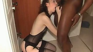 Sexy pale milky girl in feitsh underwear making home porn with black beau