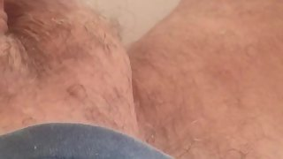 I jerk my cock-squeezing smallish circumcised cock