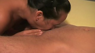 Horny chinese mom deepthroating white cock and guzzling spunk