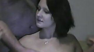 Dirty brunette got creampied by three strangers
