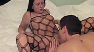 Married couple messy bedroom sex gauze