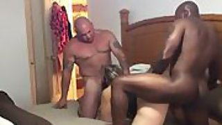 Husband gets in on the action with his wife and big black cock