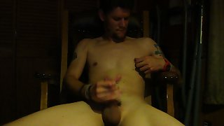 Masturbating my cock frolicking with my nipples and cumming on video