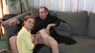 Redheaded milf milking jism out of her mischievous husband