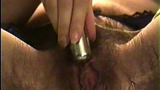 Hot wife insets egg vibe in wooly cootchie but the vibro escapes
