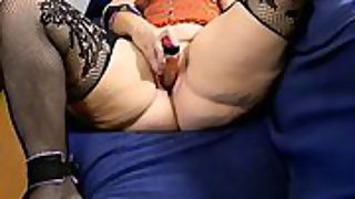 Wife milking encouraged to penetrate herself the way she loves with fuck stick until ejaculation