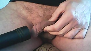 Sucking cock with a vacuum cleaner feels excellent