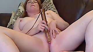 Chubby redheaded mature and her massager part two
