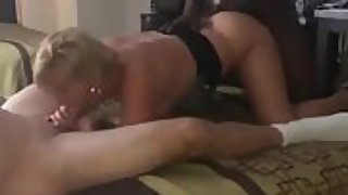 Mature blondie superslut wife being spit roasted by a milky guy and a ebony stud