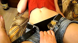 Sexy little bitch in hot jean trousers rubbed up and nailed on couch