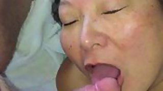 Horny japanese wifey gives oral pleasure
