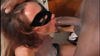 Mind-blowing masked wife worshipping & plowing a large black dick