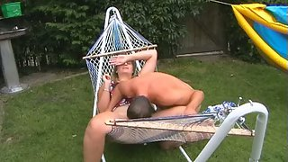 Chubby wife fuck-fest in back garden hoping the neighbours do see us