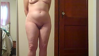 My wifey stood totally nude so i could wank off looking at her