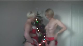 Wife and her buddy naked by the christmas tree