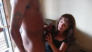Sexy cougar riding first-ever bbc and giving hand job as husband films