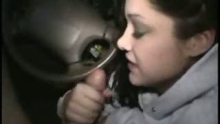 Sizzling brunette lady blows in a car