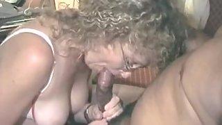 Mature wife deep-throating and screwing black bull bareback