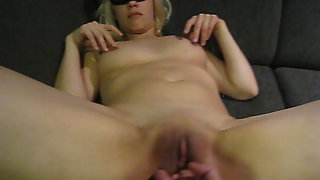 Blindfolded sasha xiphias takes a huge arm in her snatch and anus