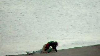 Voyeured couple public fuck-fest on the beach early in the morning