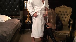 Nasty housewife towheaded in black leather sundress disrobing off for dirty fuck-fest