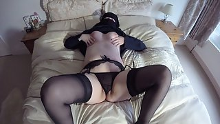 Uk wife in niqab burqa stockings and suspenders