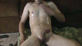 26 year old greases up sexy body and puts on a very hot solo video
