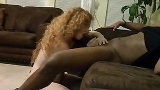 Redhead bitch sucks and rides a big ebony dong
