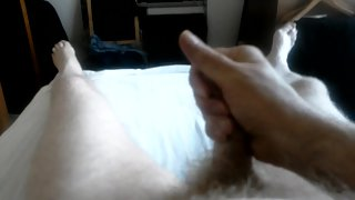 Masturbating my cock until it ejaculates its cream-colored cum