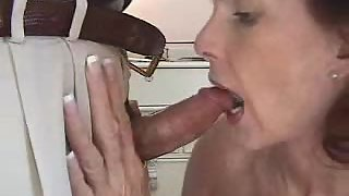 Mature gal deep-throating fuckpole shape cream