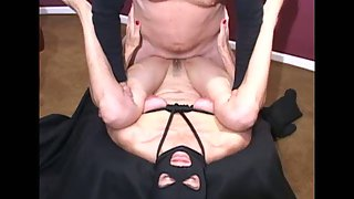 Black mask facial for skinny mature after being torn up